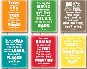 dr seuss quotes playroom print set motivational kids room quote wall ...