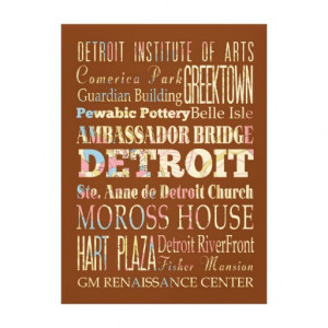 Attractions & Famous Places of Detroit, Michigan. Gallery Wrap Canvas