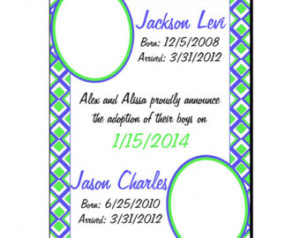 Green and Blue Adoption Announcemen t, Custom Adoption Announcement ...