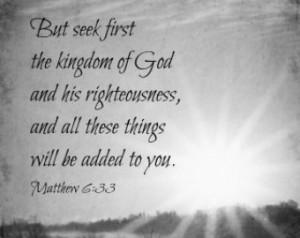 Matthew 6 Print Seek First Quote Sc ripture Black White Christian ...