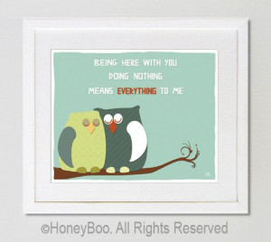 Owls art print love quote emotional wall art room by HoneyBoo, $15.00
