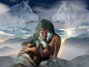 Native american couple with wolves Image