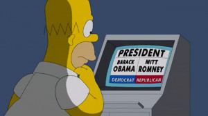 Homer Simpson casts his vote the good old American way. Picture: Fox ...