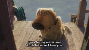 love dog cute disney puppy UP Doug hiding because i love you
