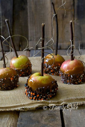 ... Caramel Apples Recipes, Blocks Parties, Halloween Apples, Halloween