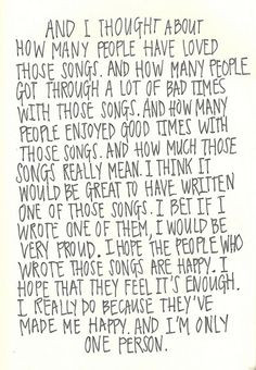 ... Of Being A Wallflower Quote by Stephen Chbosky HOW I FEEL ABOUT MUSIC