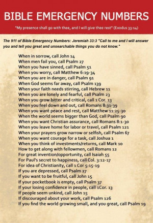 The Bible Emergency Numbers has some great Bible verses to check out!