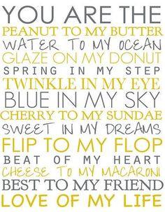 in my eye, blue in my sky, cherry to my sundae, sweet in my dreams ...