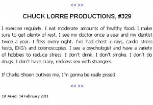 BlogPost - Chuck Lorre, Charlie Sheen and the vanity card jabs