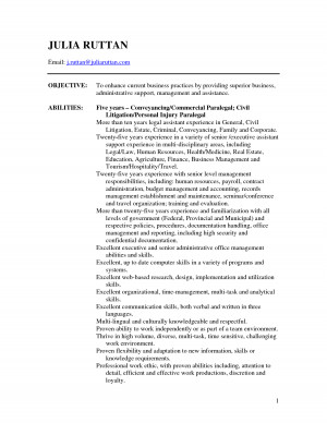 paralegal objectives personal injury legal assistant resume sample