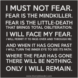 Litany against fear, from Dune.