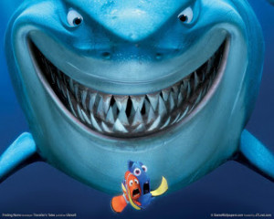 This is Bruce the shark with Marlin and Dory.