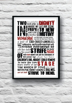 ROMEO and JULIET Poster Shakespeare quote poster by Redpostbox, £8.00
