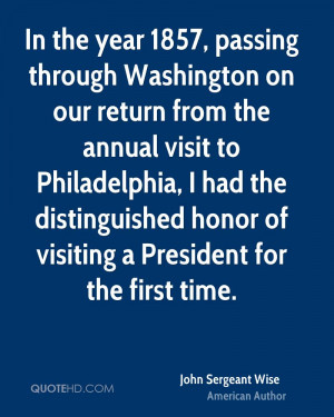 In the year 1857, passing through Washington on our return from the ...