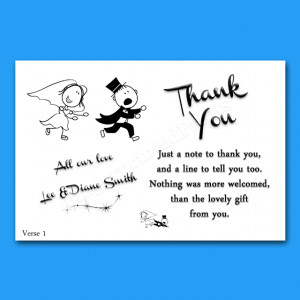 ... Wedding Thank You Notes/Cards 4 Verses Reluctant Groom Design 2
