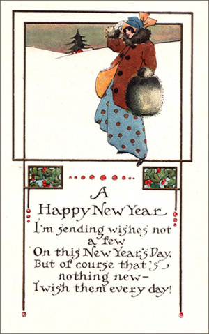 New Year Postcard in Elegant Art Nouveau Style with Short Rhyming New ...