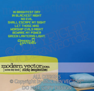 Details about GREEN LANTERN Quote Vinyl Wall Decal Justice League