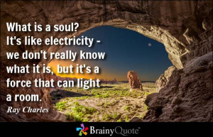 What is a soul? It's like electricity - we don't really know what it ...