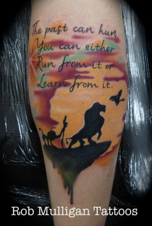 Lion king tattoo, full colour on the back of a calf