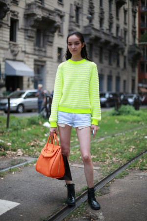 Fei Fei Sun, 15 street style photos from Milan Fashion Week #MFW #neon