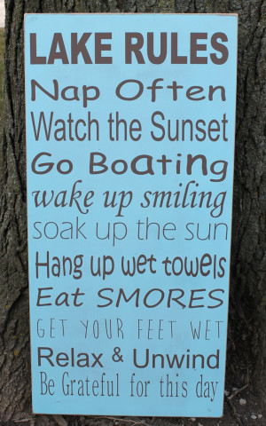 Etsy.: Lake Houses, Lakes Rules, Boats Quotes Lakes, Signs For A Lakes ...