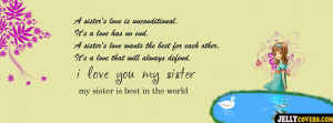 love you sister facebook cover Funny Sister Quotes For Facebook