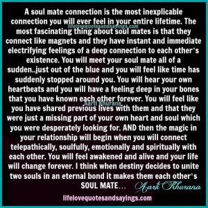 soul mate connection is the most inexplicable connection you will ...