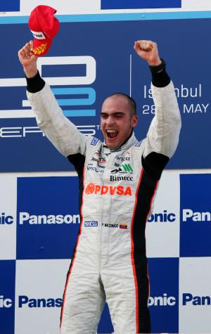 Pastor Maldonado celebrates his first win of the season