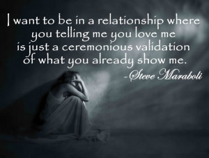 ... love me is just a ceremonious validation of what you already show me