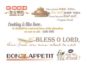 Food Quotes and Word Art for Your Scrapbook Layouts