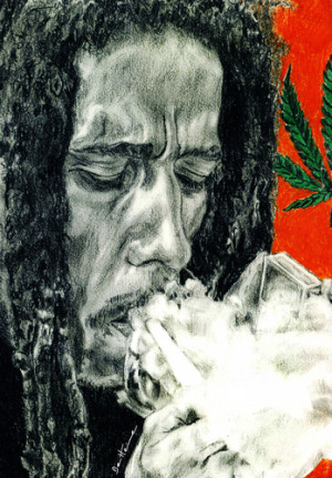 Bob Marley Smoking Weed Quotes Cartoon