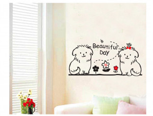 cute-dog-animal-kids-wall-decals-quotes-princess-love-retro-art ...