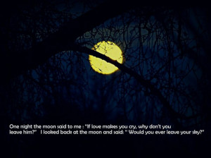 dark love moon night quote sky text you