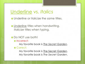 Quotes Or Italics Book Titles ~ Underline, Italics, Quotation Marks ...