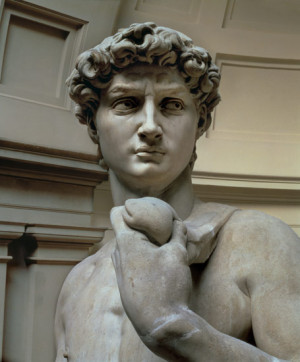 Michelangelo (Buonarroti) - David, head of sculpture by Michelangelo ...