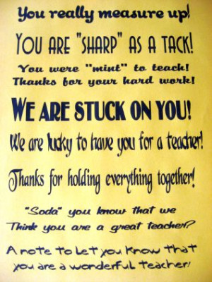 """didn't use the """"We are lucky to have you for a teacher ..."""