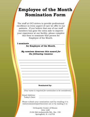 Employee of the Month Nomination Form Samples