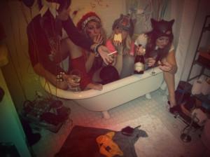 alcohol, bath, bathroom, dress up, drunk, girls