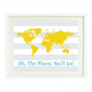 Oh The Places You'll Go Quote Art Print by GatheredNestDesigns, $24.00