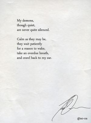 depression writing sadness poetry poem demons