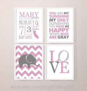 pink gray baby girl birth announcement new baby gift sunshine quote ...