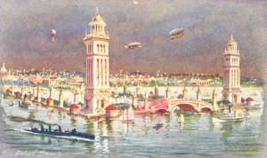 Postcard of the 1907 Jamestown Exposition featuring steamboats, yachts ...