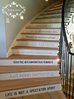 each of the stair treads has a fun quote on it do you recognize any of ...