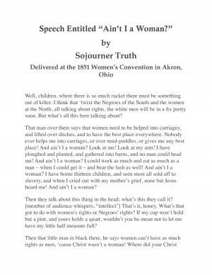 woman by sojourner truth speech entitled ain t i a woman by sojourner ...