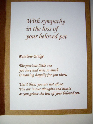 handmade pet sympathy card, pet loss card, paw print card, rainbow ...