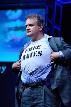 Hugh Bonneville reveals his Free Bates t-shirt.