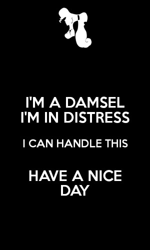 DAMSEL I'M IN DISTRESS I CAN HANDLE THIS HAVE A NICE DAY