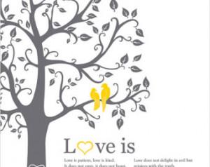 ... Custom Wedding Gift Paper Anniversary Gift Wedding tree love birds