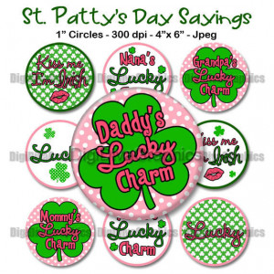 INSTANT DOWNLOAD: Cute St. Patrick's Day Sayings Bottle Cap 1