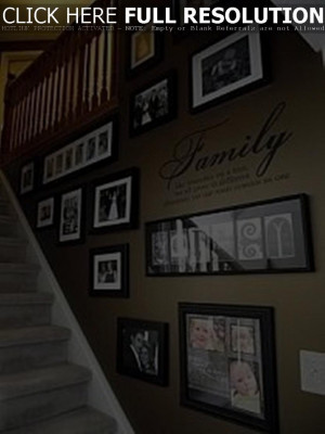 ... Decoration : Family Wall Photo Gallery In Stair Walls And Quote Decals